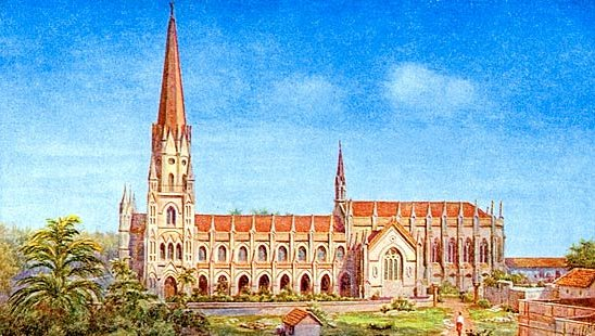 San Thome Cathedral Basilica was built by the British in 1893 to replace the original Portuguese church and raised to the status of a minor basilica in 1956 after much lobbying by Indian bishops.