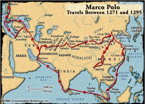 Marco Polo's alleged travel routes.