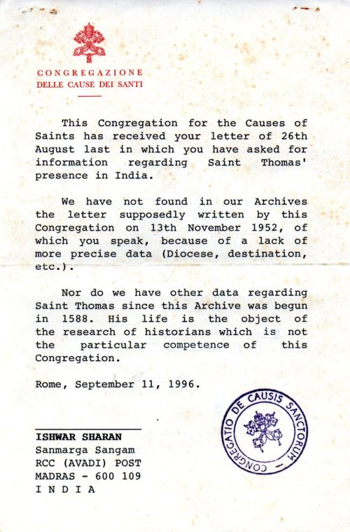 Vatican's reply to Ishwar Sharan