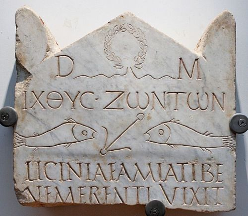 "Funerary stele with the inscription ΙΧΘΥC ΖΩΝΤΩΝ (""fish of the living""), early 3rd century in Rome."