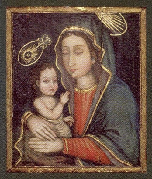 Virgin Mary & Child: There are at least seven icons of the Theotokos attributed to St. Luke scattered around the world. The first one appeared in the 5th century in Palestine and was sent to Constantinople.