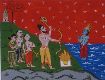 Lord Parshuram with Brahmin settlers commanding Lord Varuna to make the seas recede to make the Konkan.