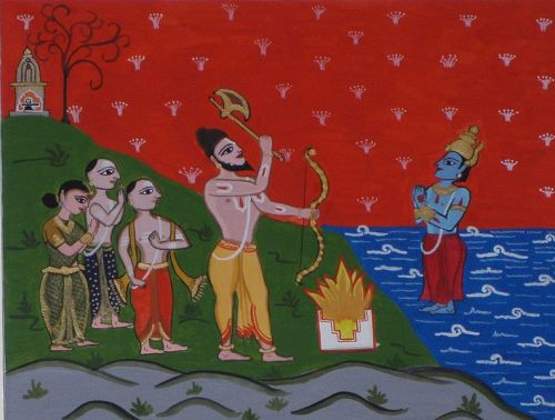 Lord Parshuram with Brahmin settlers commanding Lord Varuna to make the seas recede to make the Konkan.