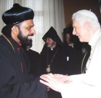 Syrian bishop with Pope Benedict in Rome