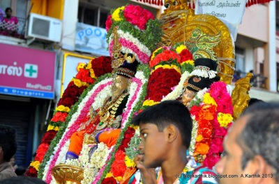 Thirvalluvar and Vasuki at the Arubathu Moovar Thiruvizha festival in Mylapore.