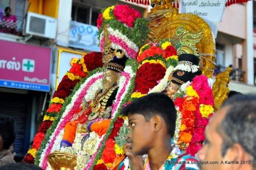 Thirvalluvar and Vasuki at the Arubathu Moovar Thiruvizha festival in Mylapore.