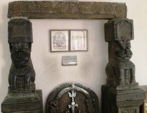 Temple pillars in San Thome Cathedral Museum