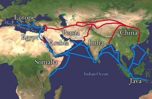Ancient silk road route and water route to India from Rome