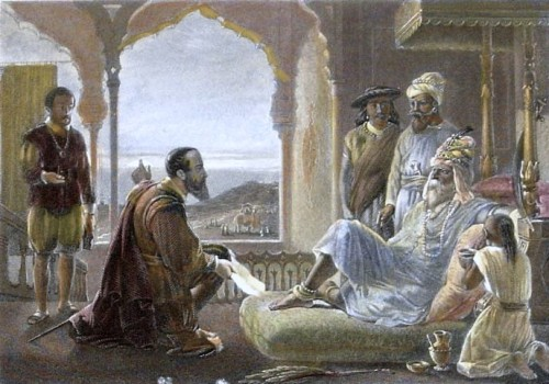 Vasco da Gama meeting the Zamorin of Calicut