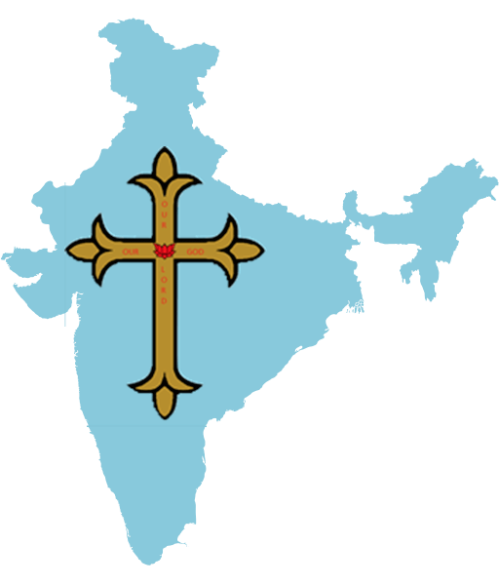 Syrian-style gold cross imposed on map of India.