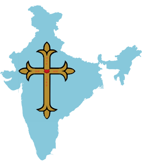 Cross imposed on map of India