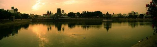 Kapali Temple Tank And Tower Mylapore