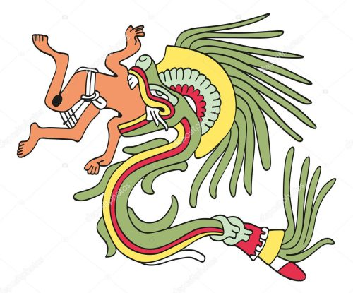 Quetzalcoatl, the feathered serpent, eating a missionary.