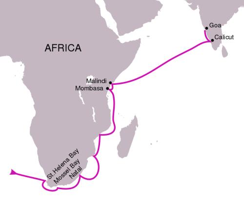 Vasco da Gama's first voyage route (1497–1499).