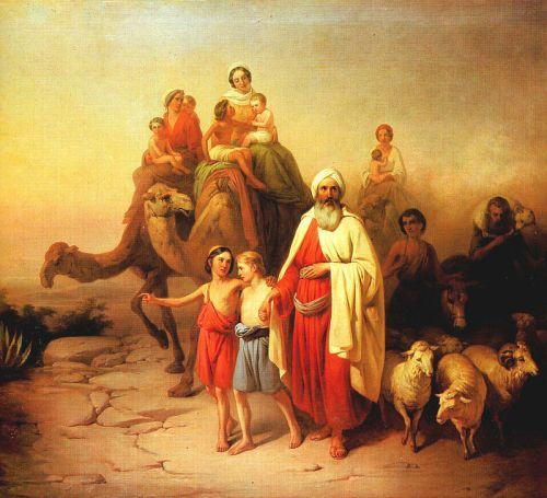 Abraham with sons Ishmael and Isaac en route to Canaan from Ur.