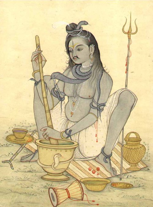 Lord Shiva grinding bhang for his devotees.