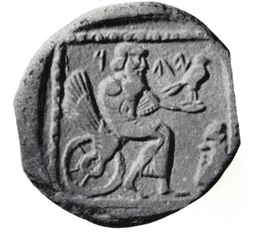 Yahweh (Jehovah) image on a BCE 4th century coin in Judah.