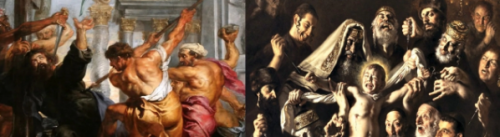 Left: Ruben's painting o St. Thomas martyrdom. Right: Gasparro's painting of Martyrdom of St. Simon.