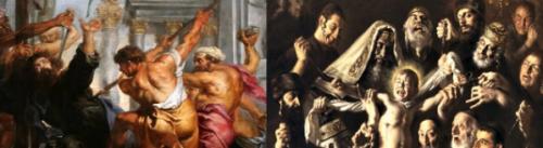 Left: Ruben's painting o St. Thomas martyrdom. Right: Gasparro's painting of Martyrdom of St. Simon.