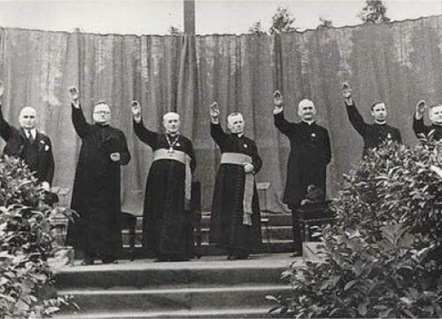 Catholic priests make fascist salute.