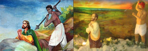 (Left) Mural of the martyrdom of St. Thomas by a Hindu native shown in the BBC report on the 1999 Papal visit to India. (Right) A similar depiction of a Hindu treacherously killing St. Thomas as diorama kept in the San Thome Church exhibit.