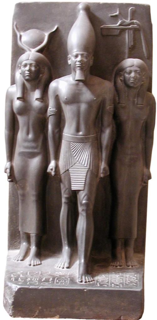 Pharaoh Menkaura with Hathor and Anput (ca. 2500 BCE)