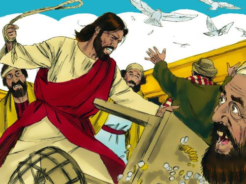 Jesus driving the money changers from the temple.