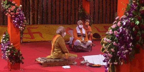 Narendra Modi at Ram Temple bhumi puja on August 5, 2020.