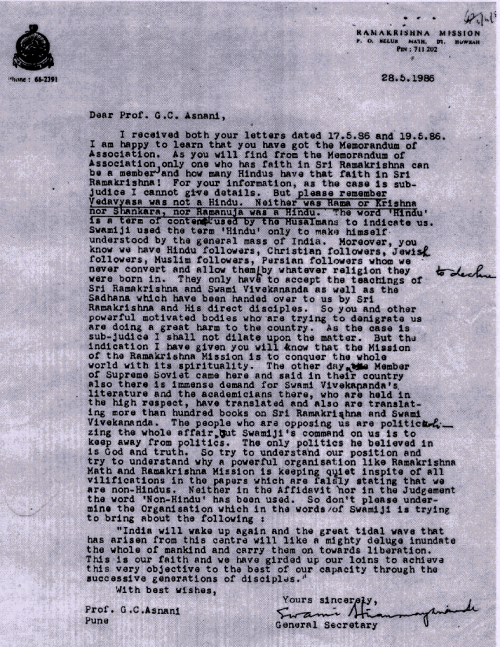 RKM secretary's letter to G.C. Asnani