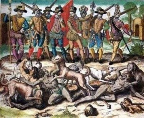 Columbus hunted Caribbean natives with dogs.